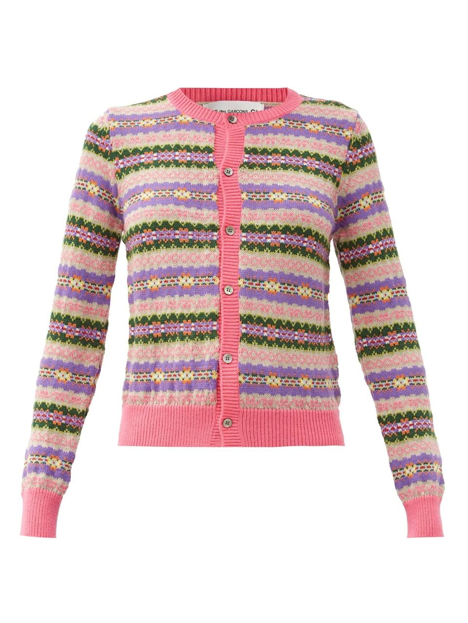 """<br><br><strong>Comme des Garçons Girl</strong> Wool Cardigan, $, available at <a href=""""https://www.matchesfashion.com/products/Comme-des-Gar%C3%A7ons-Girl-Fair-Isle-jacquard-wool-cardigan-1379241"""" rel=""""nofollow noopener"""" target=""""_blank"""" data-ylk=""""slk:Matches Fashion"""" class=""""link rapid-noclick-resp"""">Matches Fashion</a>"""