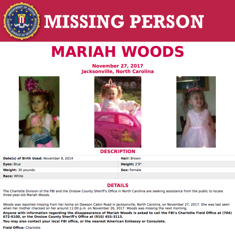 An online FBI poster for Mariah Woods, a missing three-year-old. (FBI)
