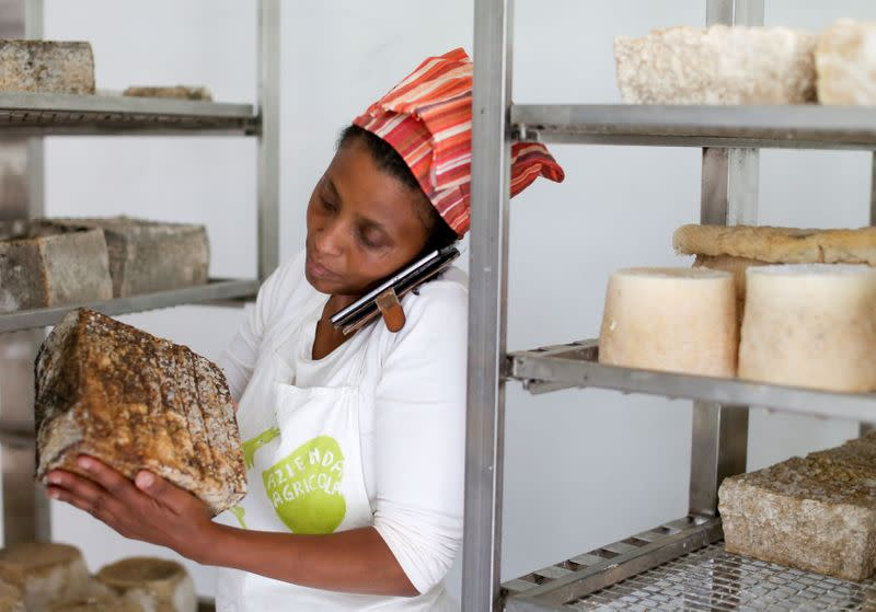 FILE PHOTO: Ethiopian Agitu Idea Gudeta, 40, talks on her mobile phone as she chooses a goat milk cheese for a client at her dairy farm at Valle dei Mocheni near Trento