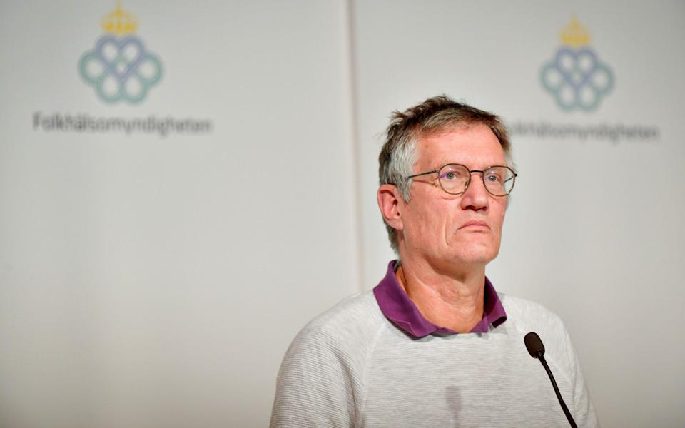State epidemiologist Anders Tegnell of the Public Health Agency of Sweden listens during a news conference - REUTERS