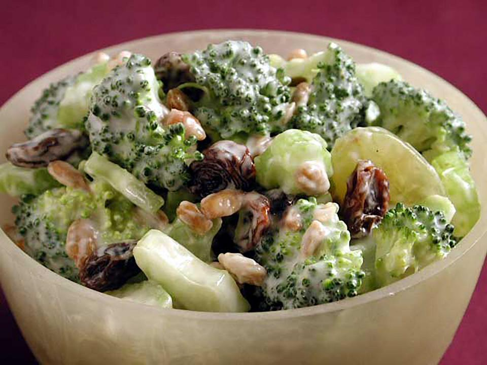 """<p>Try this light broccoli salad with creamy dressing, grapes, celery, and raisins. This <a href=""""https://www.myrecipes.com/quick-and-easy"""" rel=""""nofollow noopener"""" target=""""_blank"""" data-ylk=""""slk:quick and easy"""" class=""""link rapid-noclick-resp"""">quick and easy</a> <a href=""""https://www.myrecipes.com/course/salad-recipes/easy-green-salads"""" rel=""""nofollow noopener"""" target=""""_blank"""" data-ylk=""""slk:green salad"""" class=""""link rapid-noclick-resp"""">green salad </a>is perfect for making ahead to enjoy for lunches to come. It is also a delicious side for entertaining. The salad is sweet and light, but still filling. This is a classic recipe, but you can add an original twist with toppings like cranberries, pistachios, or almonds. Pair it with a nice grilled <a href=""""https://www.myrecipes.com/chicken-recipes"""" rel=""""nofollow noopener"""" target=""""_blank"""" data-ylk=""""slk:chicken recipe"""" class=""""link rapid-noclick-resp"""">chicken recipe</a> for lunch or dinner.</p>"""