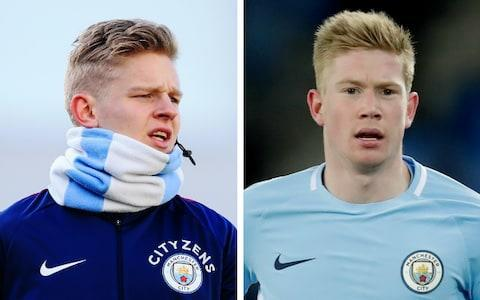 "Oleksandr Zinchenko has been given a small but important role in Manchester City's formidable season although the Ukraine international, who is set to play in the League Cup final against Arsenal on Sunday, notes that he is often mistaken for someone much more famous. It is that distinctive fair hair that causes some to confuse him with the side's leading player Kevin De Bruyne and there has been more than one misunderstanding, he says, since he became a member of Pep Guardiola's first team squad this season. ""I've heard it all the time, trust me,"" says Zinchenko. ""Everyone calls me 'Kev'. When I'm getting the bus, the fans are shouting 'Kev, can I have a picture?' Then I turn and they're like 'Oh, it's not Kevin'. ""From afar maybe we look like twins, but when we are together, I don't think so. I am more beautiful than him, definitely."" ""From afar maybe we look like twins... but I am more beautiful"" Credit: Getty A sense of humour required, and a sense of perspective for a 21-year-old making his way slowly but surely in the Premier League's most formidable team. The serious injury to Benjamin Mendy gave Zinchenko a chance to stake a claim at left-back and having played in the three previous rounds of the EFL Cup, he should start against Arsenal at Wembley with Fabien Delph suspended. As a converted wing-back who cost less than £2 million from the Russian Premier League side FC Ufa in the summer of 2016, he is one of City's less expensive acquisitions. His career began at Shakhtar Donetsk but ended in dispute when, as a teenager, he asked to leave and was held to his contract. With the war in the Ukraine coming, his parents moved to the Russian city of Ufa when he was 16 and once there his contract with Shakhtar prevented him from signing for Rubin Kazan – a stand-off that stopped Zinchenko playing for 18 months before he joined Ufa. ""In Shakhtar, the situation was very difficult for me. I had two years left on my contract and they told me I had to continue with them. My dream was to play in the first team but you can imagine how difficult that was then because their team was Fernandinho, Douglas Costa, [Henrikh] Mkhitaryan. It was an unbelievable team. ""For the Ukrainian guys it was very difficult to break into the team I said to them not to worry that I would be there for two more years. They said if you don't want to sign, you cannot play for us, even for the youth team. So for about four months, I just ran around the pitch for every training session. I didn't play. I was exiled on my own. ""Then the season finished and we moved because the situation was very difficult in Ukraine because of the war. That's why my parents moved."" Zinchenko says it is hard for Ukraine players to make the leap to the Premier League Credit: AFP/Getty Images Andrei Shevchenko, the country's greatest footballer of modern times, and Zinchenko's hero, told him the Premier League would be tough and that he had to compete in training every day. Zinchenko is passionate about what he regards as the untapped talent in Ukraine, a consequence, he says of the unwillingness of clubs to let players go and an attendant lack of confidence in those footballers. ""Two years ago they [Shakhtar] lost the Uefa Youth League Under-19 final to Chelsea. This is my age-group, my team, born in 1996, I know everyone there because I played with them for five years. They are huge talents. Trust me, everyone is good enough to play in Europe but they have long contracts with Shakhtar or Dynamo Kiev and they cannot move. Maybe they want to they cannot because the clubs close block the way."" He played on loan last season at PSV Eindhoven which helped him adapt to life in western Europe, and he confesses to one culture shock in particular. ""In Holland, everyone can sauna together - both women and men - and everyone is naked. For us, it's very, very strange. In Ukraine and Russia, it's not possible. Nobody understands it when I talk about this in Ukraine and Russia. It's strange when you see the son, maybe seven years old, his mum, his grandmother, grandfather - all together naked. Come on now. It's about mentality. That's what I mean. I'm learning every day."" Zinchenko has already had a hard road to the Premier League – war, contract disputes, sauna surprises – but he is a tough character. ""One per cent talent, 99 per cent hard work"" is his view of what it takes, although you do have to be good to play for Guardiola. He would like to see more Ukrainians make the leap but says it is harder than people think. ""I keep in touch with Andrei Yarmolenko who plays for Dortmund. I've asked what the most difficult part of it is and of course it's the language. You are more comfortable when you can talk with your team-mates, joke with them. If you just sit in silence, it's very difficult. I think people are scared to move over here."""