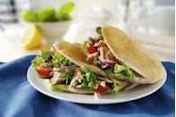 "<p>Make a tuna pita with 1 <a href=""https://www.amazon.com/Josephs-Whole-Wheat-Flour-Bread/dp/B01ENYJX3S?tag=syn-yahoo-20&ascsubtag=%5Bartid%7C10055.g.4351%5Bsrc%7Cyahoo-us"" rel=""nofollow noopener"" target=""_blank"" data-ylk=""slk:mini whole-wheat pita"" class=""link rapid-noclick-resp"">mini whole-wheat pita</a>, 2 ounces <a href=""https://www.amazon.com/Bumble-Bee-Chunk-Light-Water/dp/B001UP2188?tag=syn-yahoo-20&ascsubtag=%5Bartid%7C10055.g.4351%5Bsrc%7Cyahoo-us"" rel=""nofollow noopener"" target=""_blank"" data-ylk=""slk:water-packed light tuna"" class=""link rapid-noclick-resp"">water-packed light tuna</a>, 1 tablespoon mayonnaise, mustard, cucumber, and onion slices. Serve with 10 baby carrots and 2/3 cup plain, unsweetened Greek yogurt with a small pear.</p>"