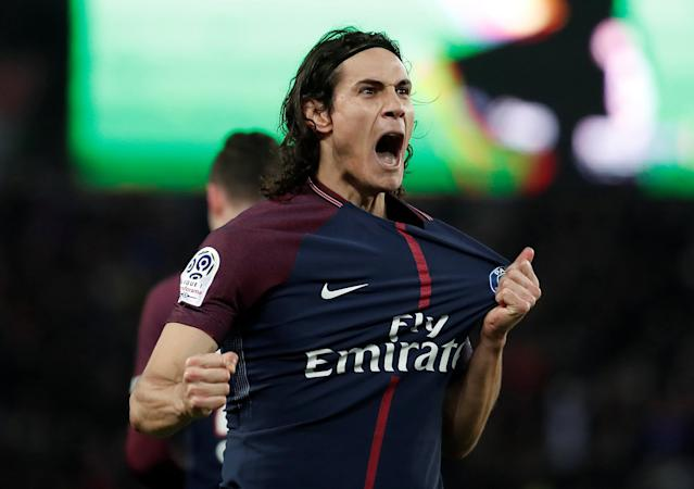 Soccer Football - Ligue 1 - Paris St Germain vs RC Strasbourg - Parc des Princes, Paris, France - February 17, 2018 Paris Saint-Germain's Edinson Cavani celebrates scoring their fourth goal REUTERS/Benoit Tessier