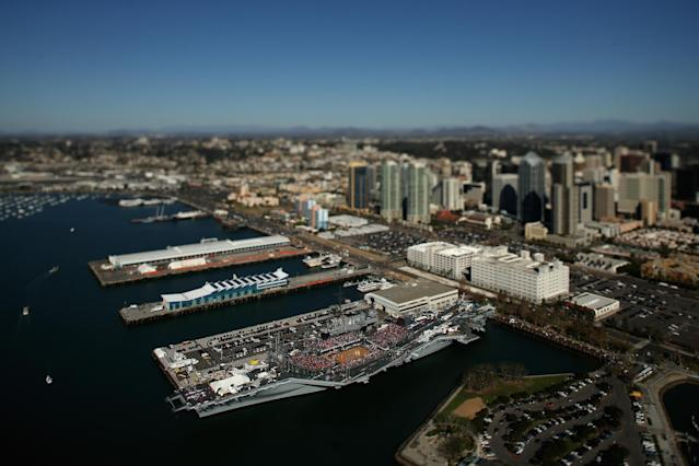 SAN DIEGO, CA - NOVEMBER 11: (EDITORS NOTE: Image was created using a variable planed lens.) An aerial view of the Battle On The Midway college basketball game played between the Syracuse Orange and the San Diego State Aztecs on board the USS Midway on November 11, 2012 in San Diego, California. (Photo by Ezra Shaw/Getty Images)