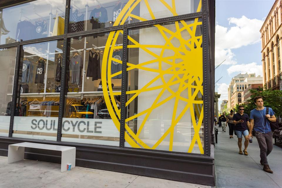 """A branch of the widely popular SoulCycle exercise studio in the Noho neighborhood of New York on Friday, July 31, 2015. SoulCycle has withdrawn its IPO registration citing """"market conditions"""". (Photo by Richard B. Levine)"""