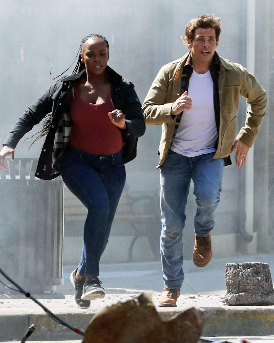 <p>James Marsden and Tika Sumpter film an action scene for <em>Sonic the Hedgehog 2</em> in British Columbia, Canada, on Tuesday.</p>