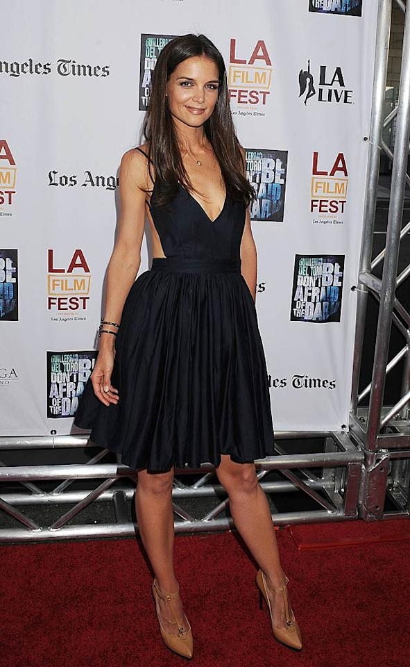 "9. Katie Holmes -- in a navy Contrarian number and tan, T-strap Lanvin pumps -- at the L.A. Film Festival premiere of ""Don't Be Afraid of the Dark."" (06/26/2011)"