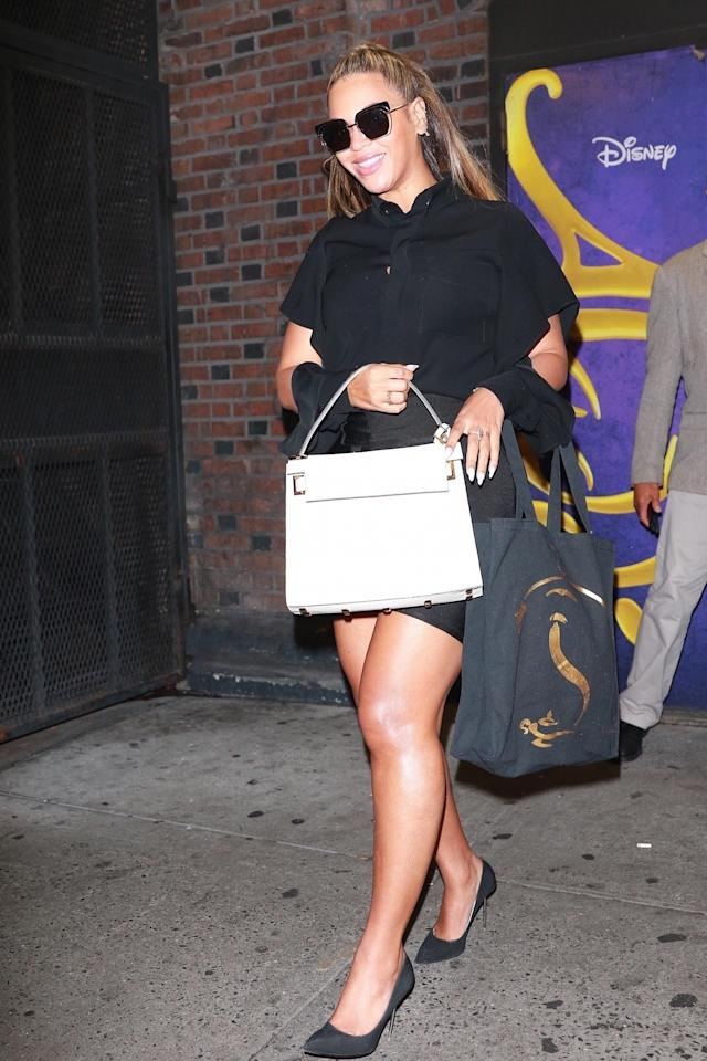 <p>Now that Bey is a resident of Malibu, Calif., she must soak up as much Broadway as possible when visiting NYC. The singer caught <i>Aladdin</i>, which is one of the best reviewed shows of the moment. We're assuming she liked what she saw as the singer flashed a big smile — and a lot of leg! — while stepping out. (Photo: AKM-GSI) </p>