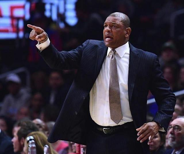 NBA coach Doc Rivers, pictured in January 2018, has signed a contract extension with the Los Angeles Clippers despite a tough last season
