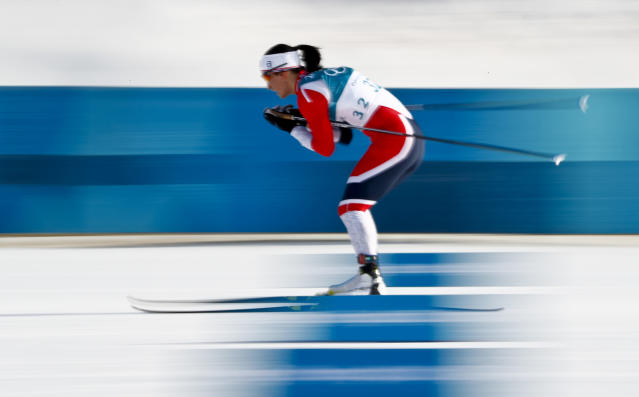 <p>Marit Bjoergen, of Norway, competes during the women's 10km freestyle cross-country skiing competition at the 2018 Winter Olympics in Pyeongchang, South Korea, Thursday, Feb. 15, 2018. (AP Photo/Matthias Schrader) </p>