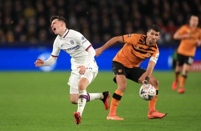 Chelsea's Mason Mount reacts to a challenge from Hull's Eric Lichaj (Mike Egerton/PA)