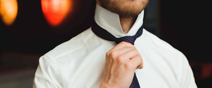 elegant businessman dressed costume before meeting with partners