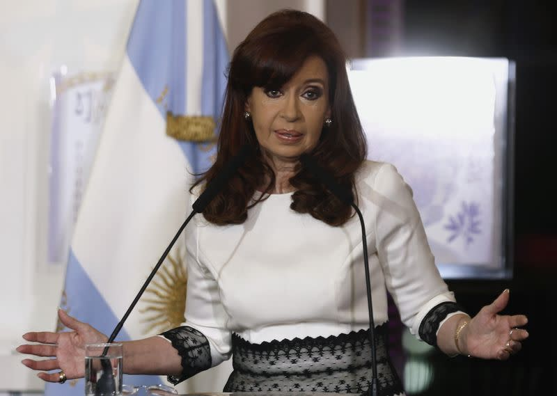 Fernandez de Kirchner speaks during a ceremony in Buenos Aires