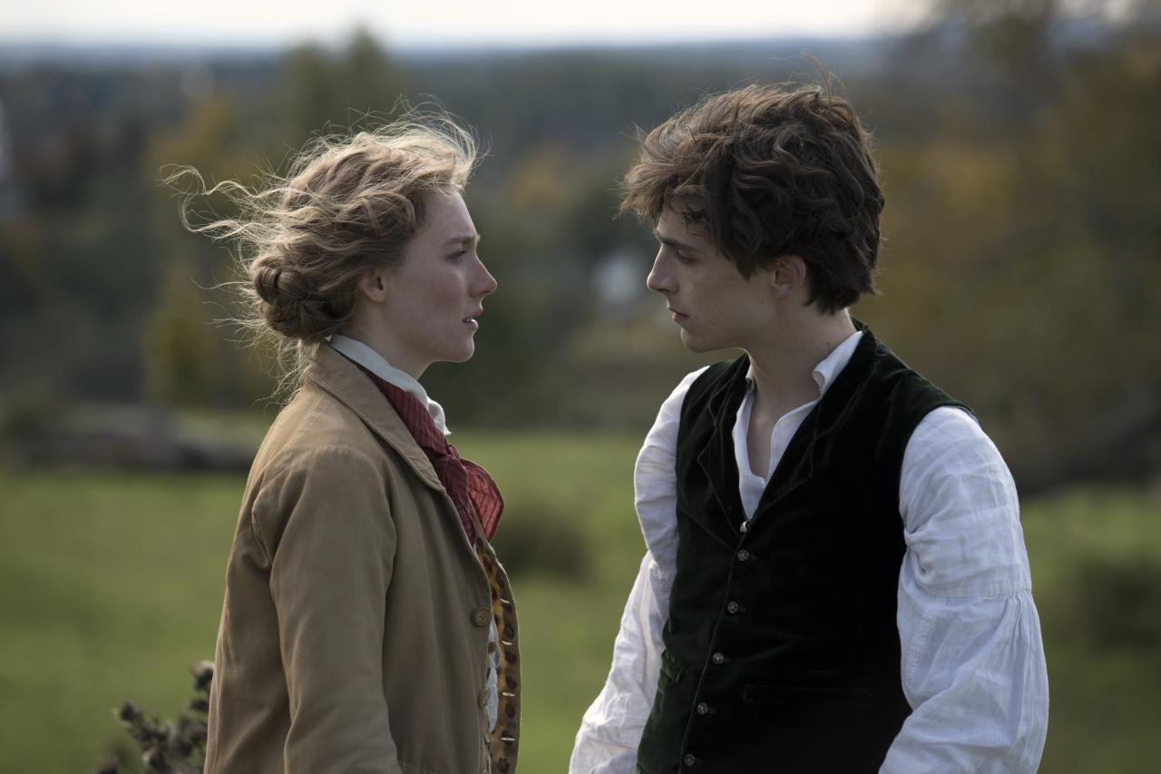 "Saoirse Ronan as Jo March and Timothée Chalamet as Laurie, her best friend. ""Jo is a girl with a boy's name, Laurie is a boy with a girl's name,"" writer-director Greta Gerwig said. ""In some ways they are each other's twins."""