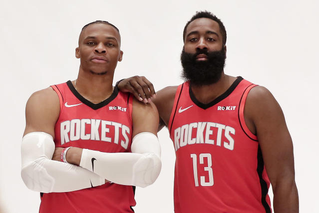 Russell Westbrook and James Harden, right, love to dribble the basketball. (AP Photo/Michael Wyke, File)
