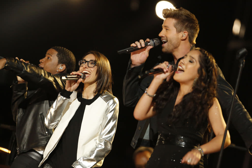 "Vedo, Michelle Chamuel, Josiah Hawley, and Cathia perform ""We Can Work It Out"" on the ""Live Finale"" episode of ""The Voice"" Season 4."