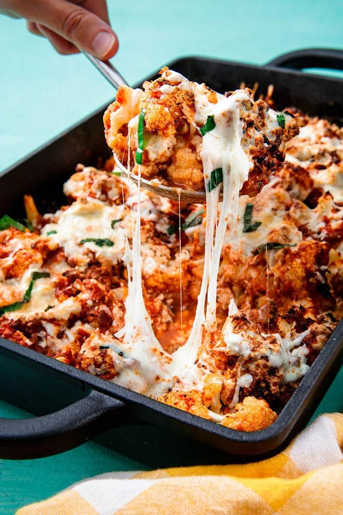 """<p>Don't miss out on Italian food just because you're cutting carbs.</p><p>Get the recipe from <a href=""""https://www.delish.com/cooking/recipe-ideas/recipes/a57630/cauliflower-baked-ziti-recipe/"""" rel=""""nofollow noopener"""" target=""""_blank"""" data-ylk=""""slk:Delish"""" class=""""link rapid-noclick-resp"""">Delish</a>.</p>"""