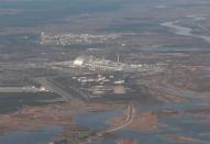 A view shows the Chernobyl Nuclear Power Plant during a tour to the Chernobyl zone