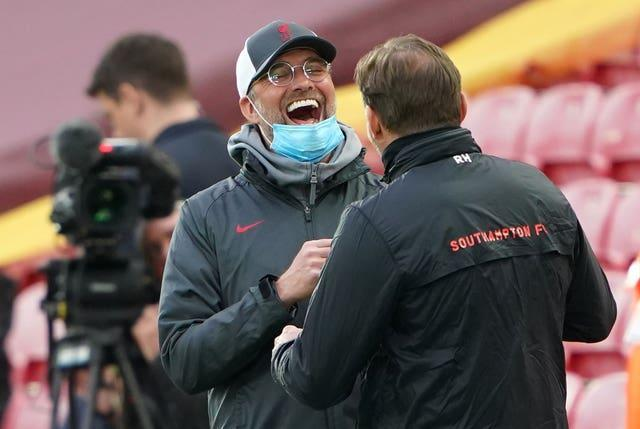 Liverpool manager Jurgen Klopp shares a joke with Southampton boss Ralph Hasenhuttl ahead of their sides' meeting at Anfield in May. Klopp had little to laugh about for large parts of a difficult season. The Reds produced a limp title defence, including suffering a 7-2 thrashing at Aston Villa in October and six successive home losses between January and March