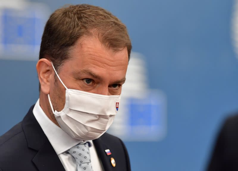 FILE PHOTO: Slovak Prime Minister Igor Matovic arrives an EU summit in Brussels