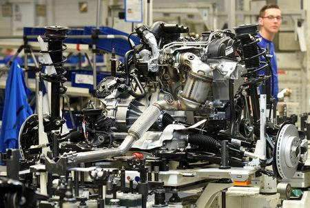 An engine of a Golf VII car is pictured on a production line at the plant of German carmaker Volkswagen in Wolfsburg, Germany, May 20, 2016. REUTERS/Fabian Bimmer/File Photo