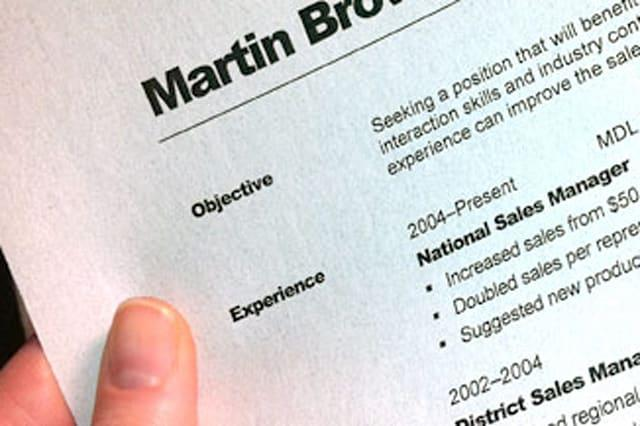 closeup of resume objective and Experience