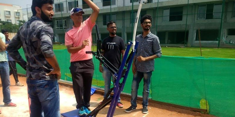 Rahul Dravid using the Freebowler's bowling machine