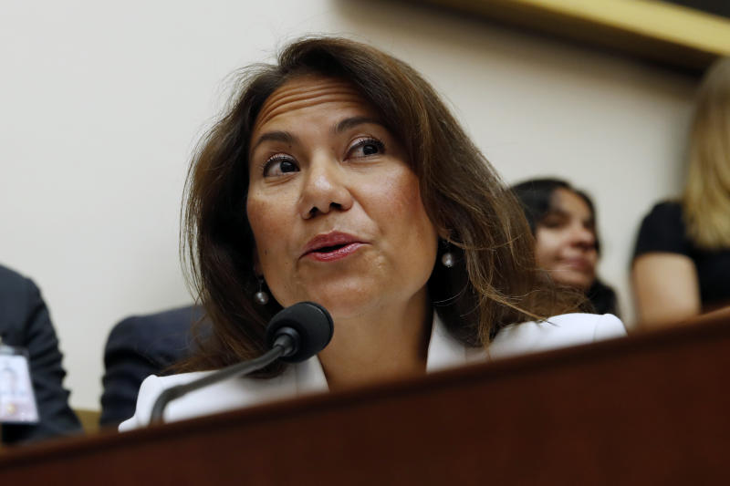 FILE - In this July 24, 2019, file photo, Rep. Veronica Escobar, D-Texas, asks questions to former special counsel Robert Mueller, as he testifies before the House Judiciary Committee hearing on his report on Russian election interference, on Capitol Hill in Washington. The Walmart shooting in El Paso, Texas, has made Escobar a member of a club no lawmaker wants to join. Escobar is consoling constituents traumatized by the shooting, which killed at least 22 people. (AP Photo/Alex Brandon, File)