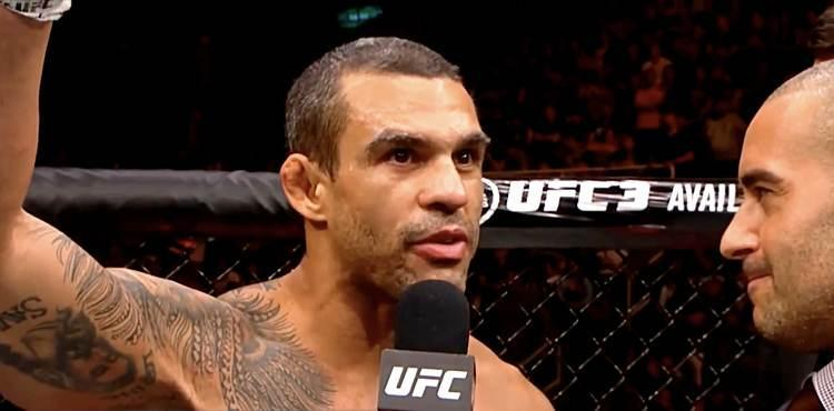 Vitor Belfort UFC 224 octagon interview where he left his gloves in the cage, indicating his retirement