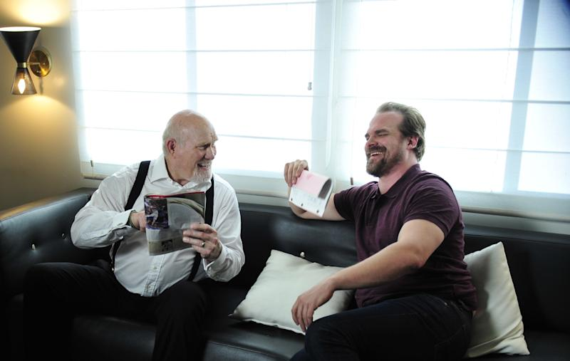 David Harbour, right, with Terry Bradshaw