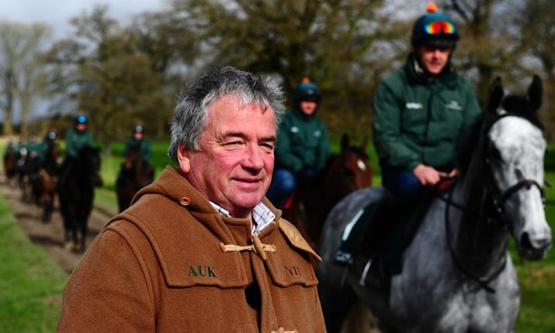 Nigel-Twiston Davies looks on as Bristol De Mai, who the trainer has high hopes for in this year's Gold Cup, passes him.