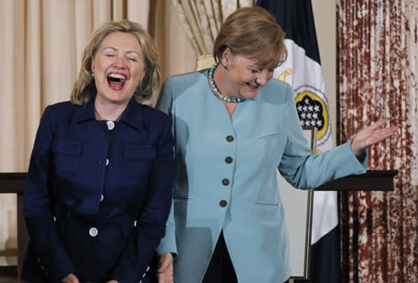 hillary clinton and angela merkel joke about their mutual love of