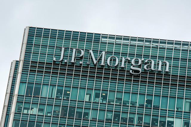 The JP Morgan building in the Canary Wharf financial district in London. (Brais G Rouco/SOPA Images/LightRocket via Getty Images)