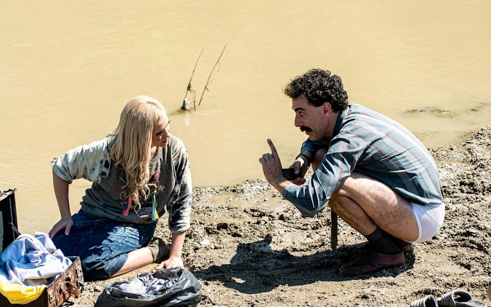 Baron-Cohen and Bulgarian actress Maria Bakalova (24) in a scene from Borat Subsequent Moviefilm - Amazon Studios