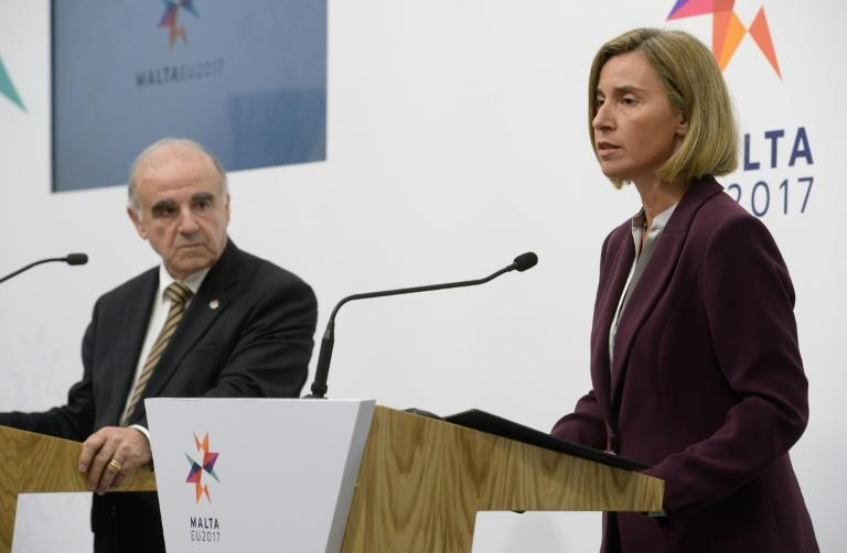 High representative of the European Union for foreign affairs and security policy, Federica Mogherini (R) during the EU Informal Meeting of Foreign Affairs Ministers, on April 28, 2017 in Valletta, Malta