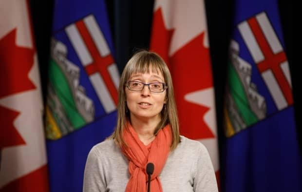 Alberta chief medical officer of health Dr. Deena Hinshaw updates media on the COVID-19 situation in this file photo. (Jason Franson/Canadian Press - image credit)