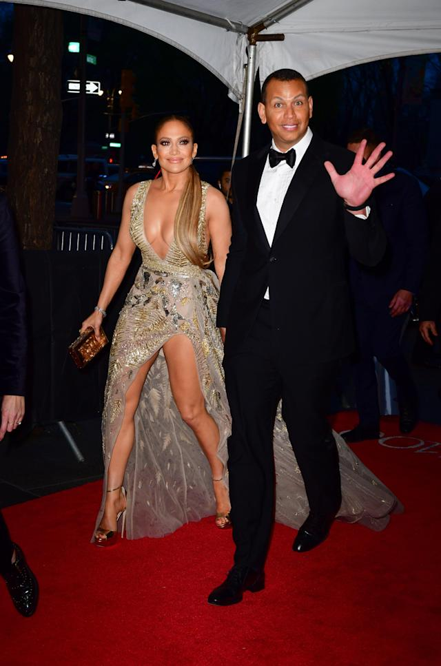 She arrived earlier in the night with her partner Alex Rodriguez. Source: Getty
