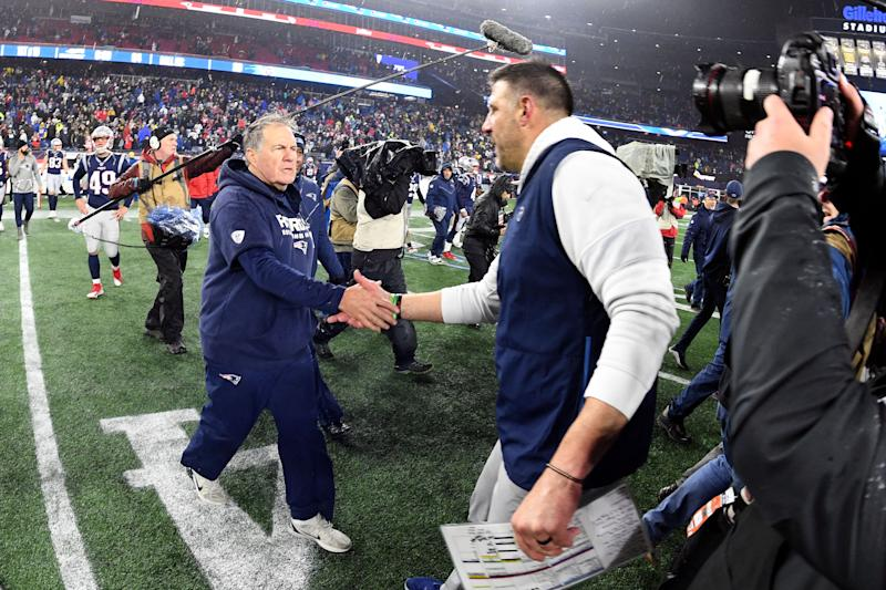 Jan 4, 2020; Foxborough, Massachusetts, USA; New England Patriots head coach Bill Belichick shakes hands with Tennessee Titans head coach Mike Vrabel after the Patriots lost to the Titans at Gillette Stadium. Mandatory Credit: Brian Fluharty-USA TODAY Sports