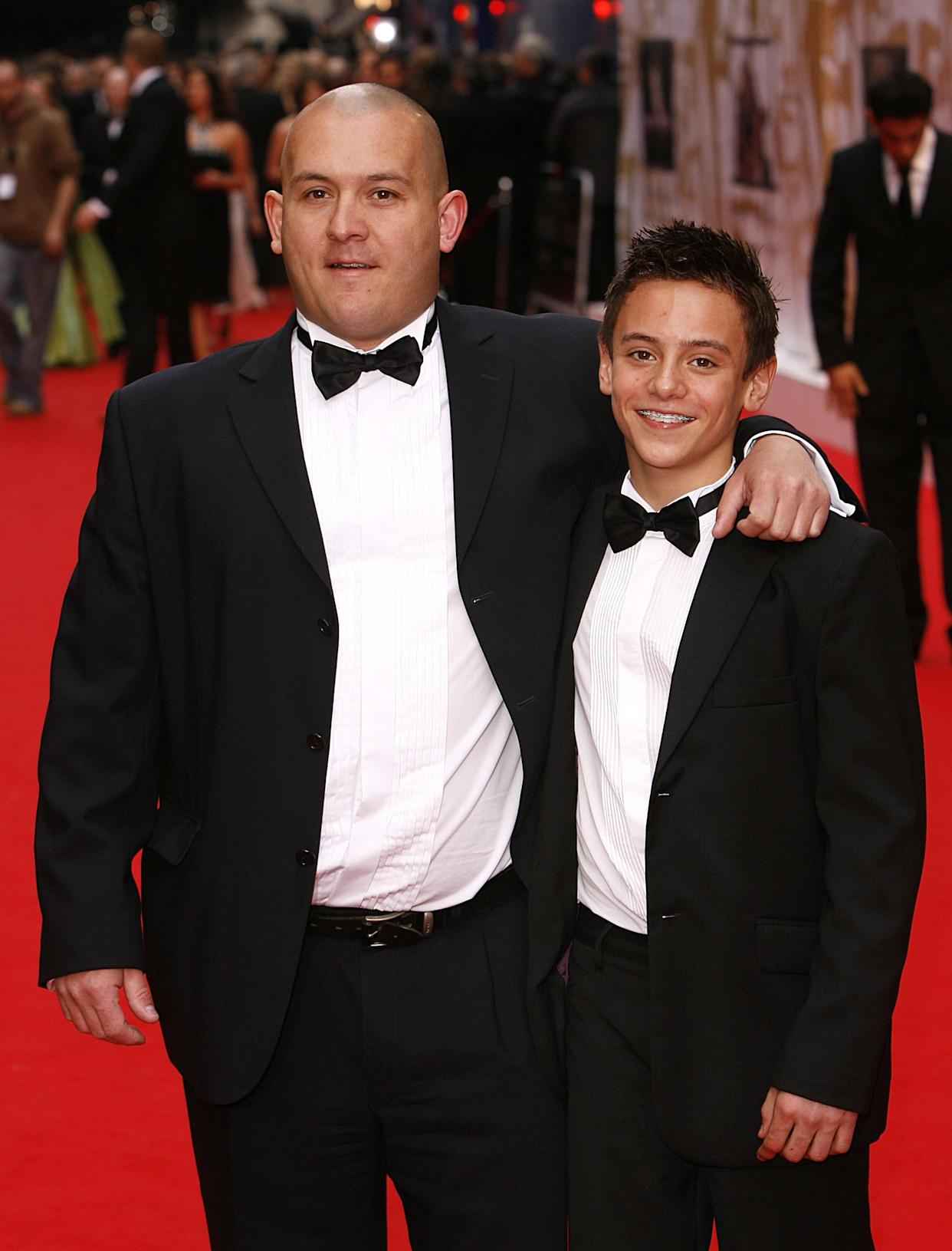 Thomas Daley and his dad Robert arrive for the British Academy Television Awards at the London Palladium, W1.