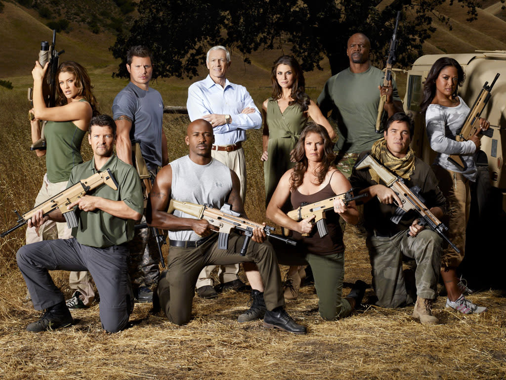 "The cast of NBC's ""Stars Earn Stripes."""