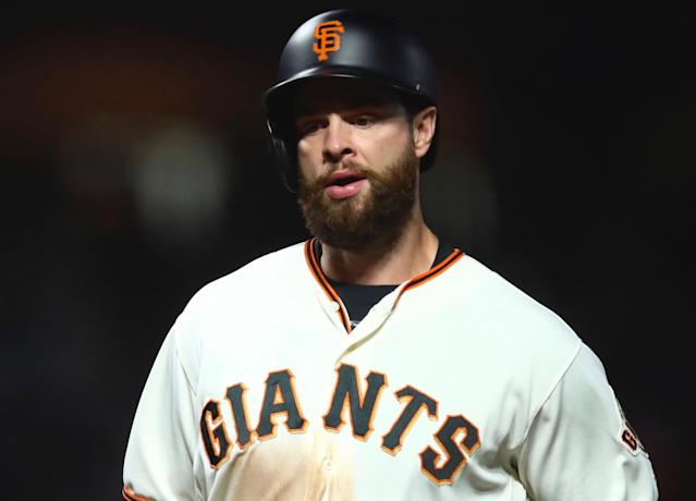 "<a class=""link rapid-noclick-resp"" href=""/mlb/players/8795/"" data-ylk=""slk:Brandon Belt"">Brandon Belt</a> looks like a player who's finally figured it out (AP)"