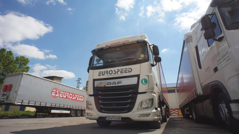 Eurospeed carrier company trucks parked at a parking lot in Sofia, Bulgaria, Wednesday, May 8, 2019. The future of Bulgaria's vast number of low-wage truck drivers has become a top campaign issue in the country heading into European Parliament elections, with debates raging on how new EU rules could threaten the workers and deepen divisions between rich and poor nations in the bloc. (AP Photo)