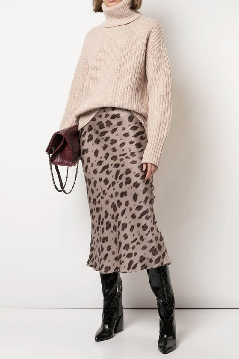 Hilary Duff was spotted wearing this silk Leopard Print Midi-Skirt by Anine Bing. Image via Anine Bing.