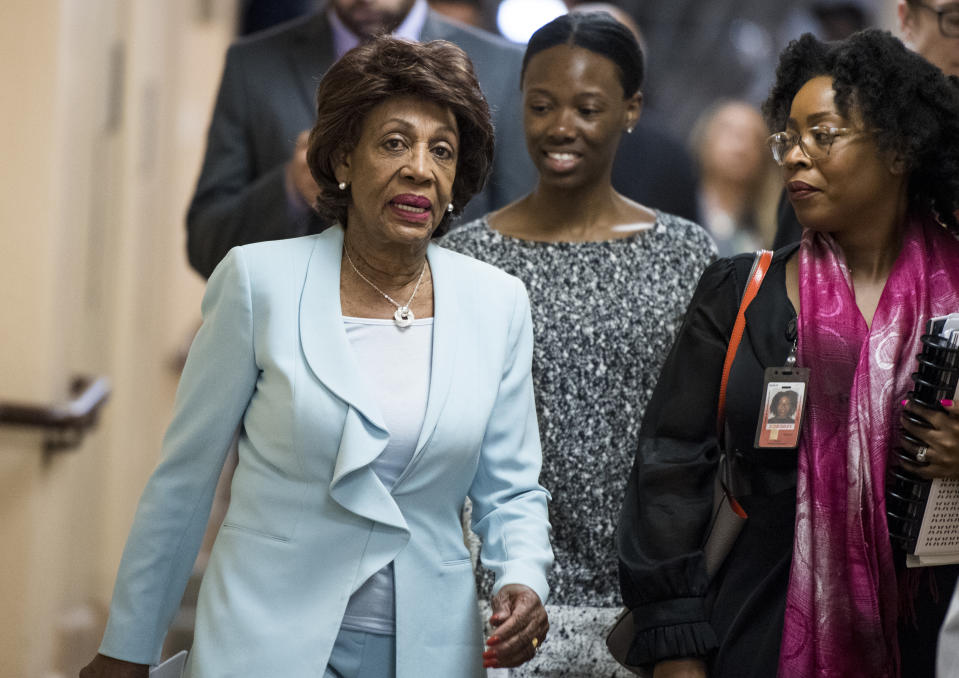 UNITED STATES - MAY 22: House Fincancial Services chairwoman Maxine Waters, D-Calif., arrives for the House Democrats caucus meeting on impeachment on Wednesday, May 22, 2019. (Photo By Bill Clark/CQ Roll Call)