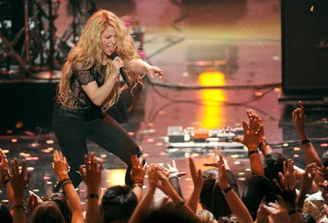 Shakira performs at the iHeartRadio Music Awards at the Shrine Auditorium on Thursday, May 1, 2014, in Los Angeles. (Photo by Chris Pizzello/Invision/AP)