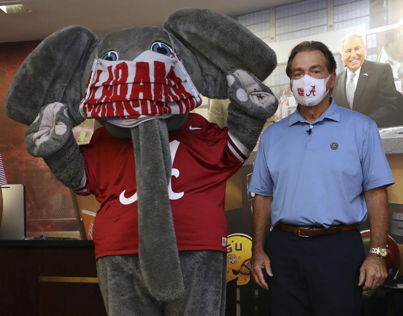 Alabama coach Nick Saban recorded a video promoting the use of face masks and social distancing. (AP Photo/Kent Gidley, University of Alabama via AP)