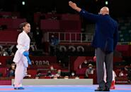 <p>Serbia's Jovana Prekovic reacts as she wins the gold medal in the Women's Kumite -61kg Final in the karate competition. </p>