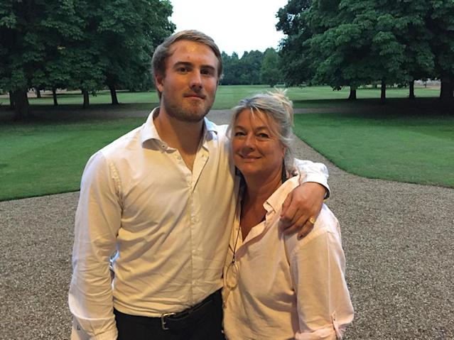 Cambridge graduate Dominic Hamlyn (pictured with mother Geraldine Hamlyn) died after an underwater swimming challenge at his family home in Canterbury (PA)