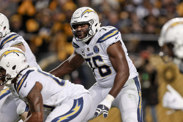 Russell Okung will reportedly protect the blindside of Cam Newton -- or whomever the Panthers start at quarterback next season. (AP Photo/Don Wright, File)